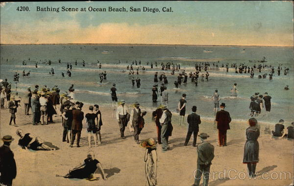 Bathing Scene at Ocean Beach San Diego California