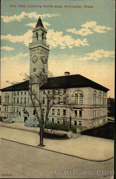 City Hall, Looking North-east Worcester Massachusetts