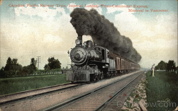 Canadian Pacific Railway Train, Imperial Limited, Trans-Continental Express Montreal to Vancouver Canada