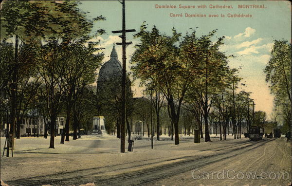Dominion Square with Cathedral Montreal Canada Quebec