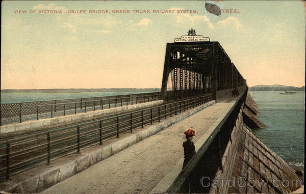 View of Victoria Jubilee Bridge, Grand Trunk Railway System Montreal Canada