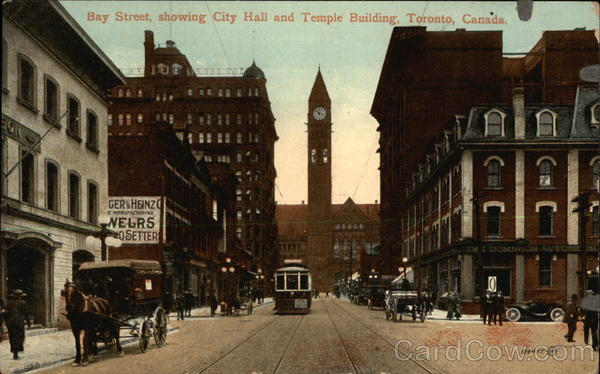 Bay Street, showing City Hall and Temple Building Toronto Canada
