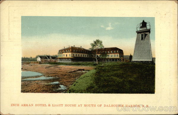 Inch Arran Hotel & Light House at Mouth of Dalhousie Harbor Canada