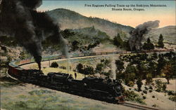 Five Engines Pulling Train up the Siskiyou Mountains