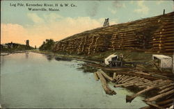 Log Pile, Kennebec River, H & W Co