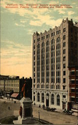 Monument Square showing Soldiers' Monument, Fidelity Trust Building and Preble House Postcard