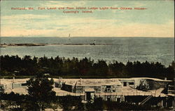 Fort Levet and Ram Island Ledge Light from Ottawa House - Cusning's Island Postcard