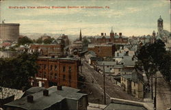 Bird's-Eye View showing Business Section Postcard