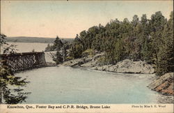 Foster Bay and CPR Bridge, Brome Lake Postcard