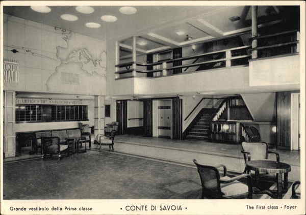 The First Class Foyer, Conte di Savoia, Italian Line
