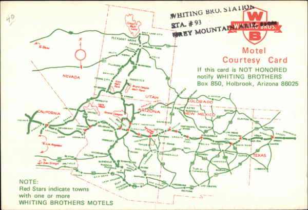 Whiting Brothers Motel Map Advertising