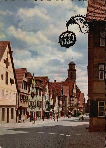 Dinkelsbühl, City View with Cobble Street Germany