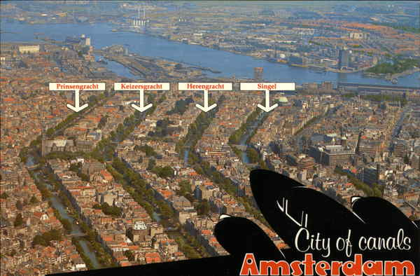 Aerial View of Center of City Amsterdam Netherlands