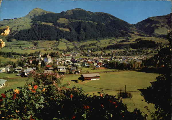 View over Town and Mountains Kitzbuhel Austria