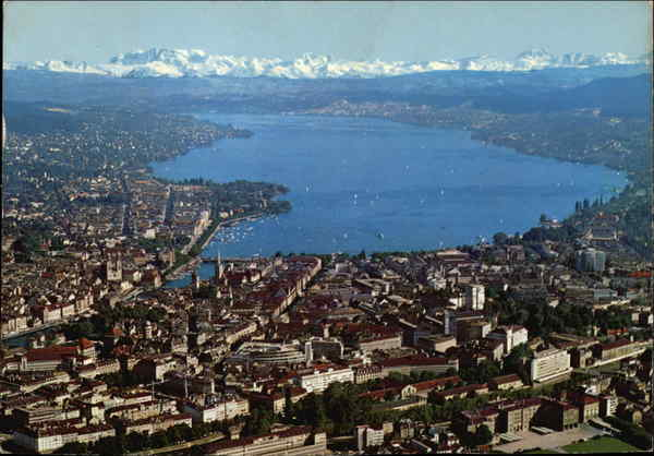 Aerial View of City and the Alps Zurich Switzerland