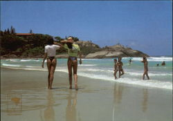 Bathers on Joaquina Beach Postcard