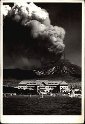 Mt. Villarica Erupting in 1949, Village in Foreground
