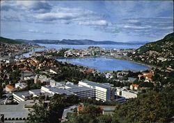 View of Town with Bridge Across Puddefjord Postcard