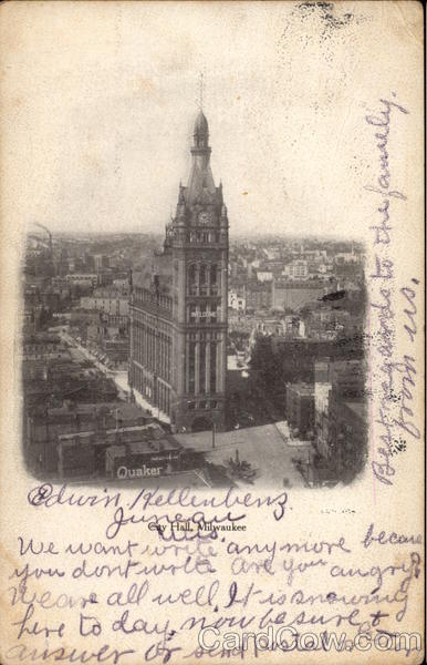 Aerial View of City Hall Milwaukee Wisconsin