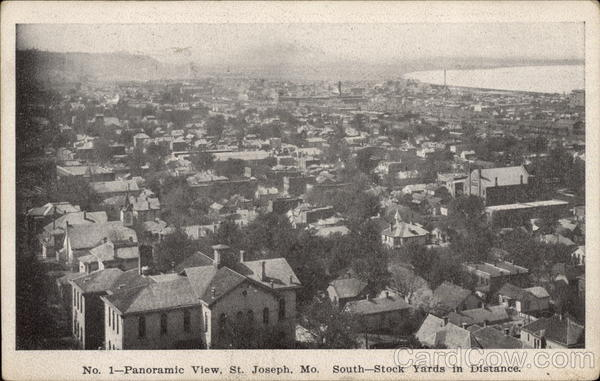 Panoramic View of Town, South - Stock Yards in Distance St. Joseph Missouri