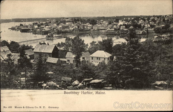 Aerial View of Town Boothbay Harbor Maine
