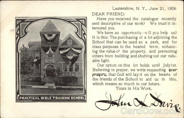 Practical Bible Training School Lestershire New York