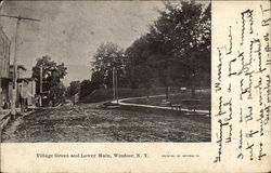 Village Green and Lower Main Street Postcard