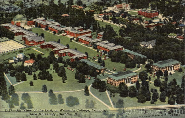 Air View of the East, or Woman's College, Campus, Duke University Durham North Carolina