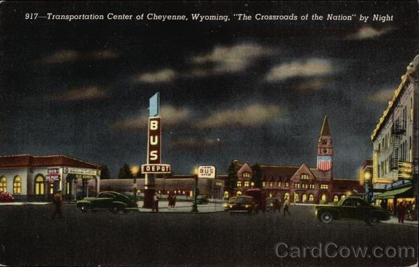 Transportation Center; The Crossroads of the Nation by night Cheyenne Wyoming