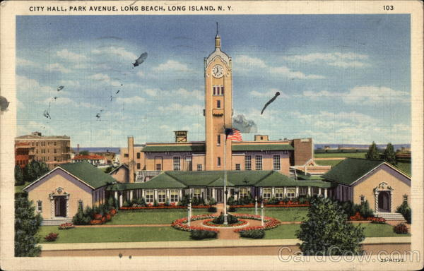 City Hall on Park Avenue on Long Island Long Beach New York