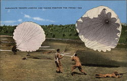 Parachute Troops Landing and Taking Position for Firing