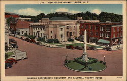 The Square - Confederate Monument and Caldwell County House