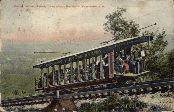 Car on Inclined Railway - Uncanoonac Mountains Manchester New Hampshire