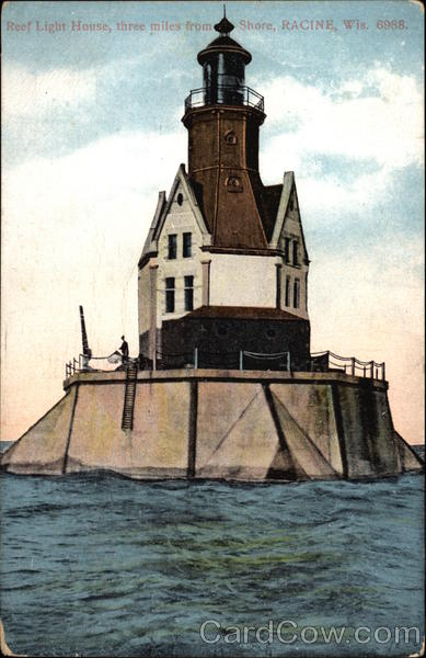 Reef Light House, three miles from Shore Racine Wisconsin