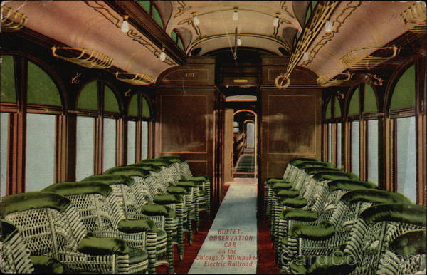 Buffet Observation Car on the Chicago & Milwaukee Electric Railroad