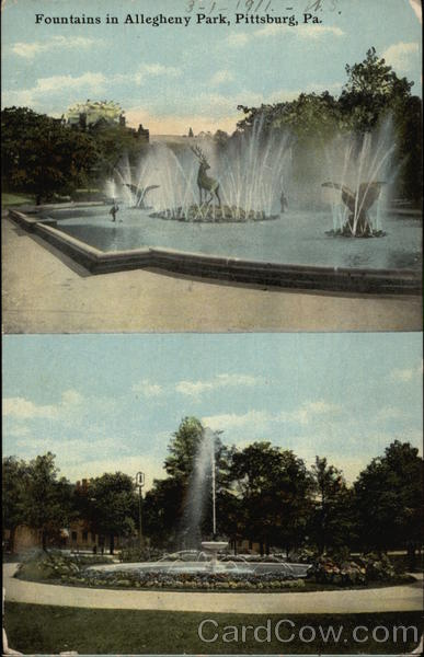 Fountains in Allegheny Park Pittsburgh Pennsylvania
