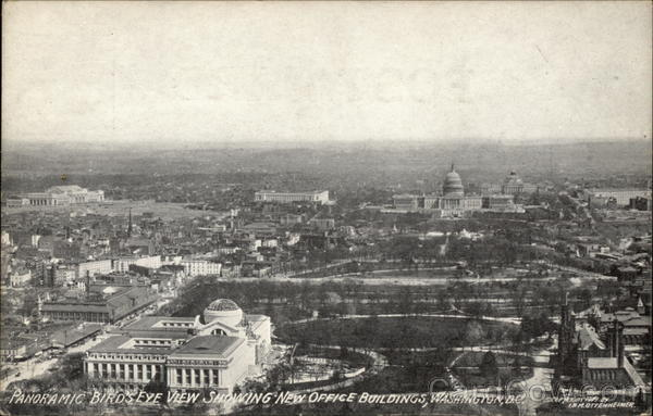 Panoramic Bird's Eye View Showing New Office Buildings Washington District of Columbia