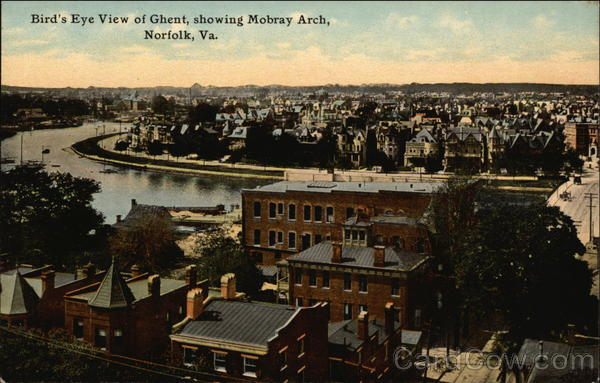 Bird's Eye View of Ghent, Showing Mobray Arch Norfolk Virginia
