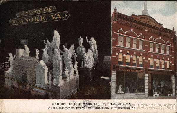 Exhibit of J.H. Marsteller at the Jamestown Exposition, Timber and Mineral Building Roanoke Virginia