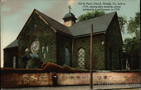 Old St. Paul's Church built in 1739, showing place struck by cannon ball fired in 1776 Norfolk Virginia