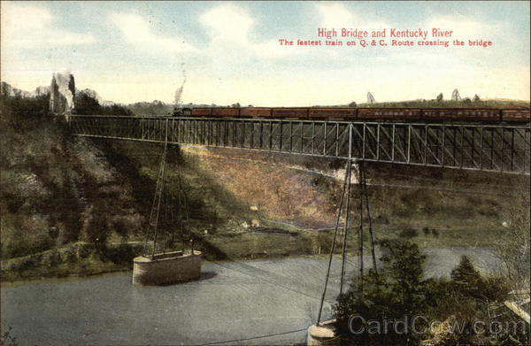 High Bridge and Kentucky River - Fastest Train on Q & C Route crossing Bridge Lexington