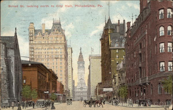 Broad Street looking North to City Hall Philadelphia Pennsylvania