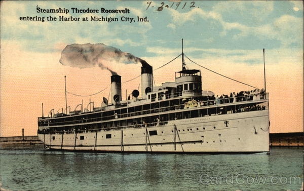 Steamship Theodore Roosevelt entering the Harbor Michigan City Indiana