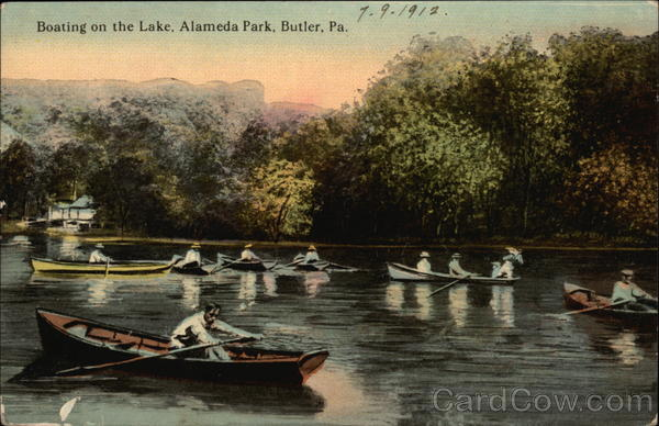 Boating on the Lake at Alameda Park Butler Pennsylvania