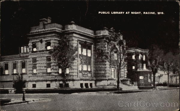 Public Library at Night Racine Wisconsin