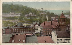View From St. Marks Episcopal Church Tower, Showing Miss Mary Packer Cummings Residence
