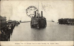 "Steamer ""City of Chicago"" just in from Chicago"