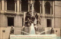 Lorado Taft Fountain of the Great Lakes and Art Institute Postcard