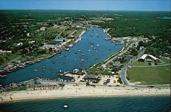 Air View of Falmouth Harbor Cape Cod Massachusetts