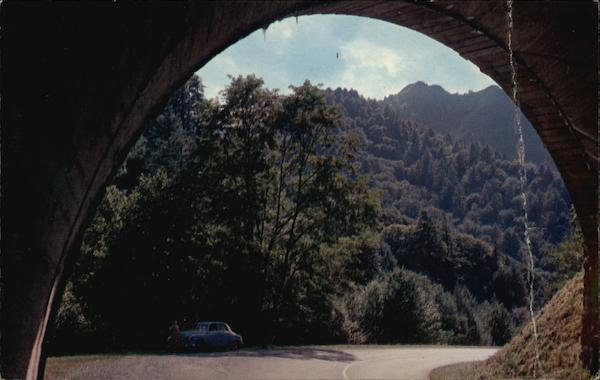 The Chimney Tops seen through archway in tunnel Tennessee